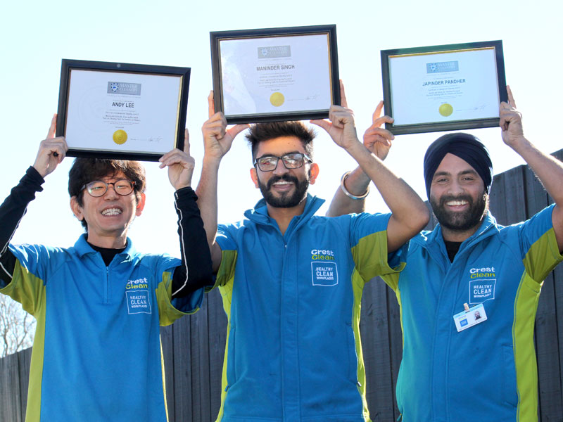 Andy Lee, Maninder Singh and Japinder Pandher with their training certificates.