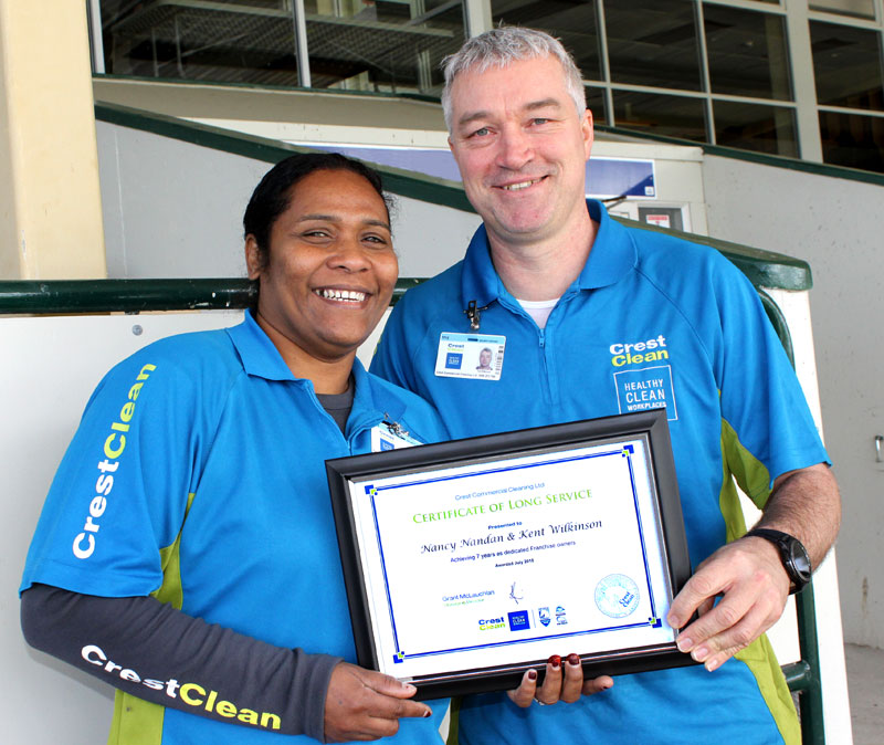 Nancy Nadan and Kent Wilkinson have been with CrestClean for seven years.