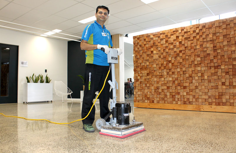 The machine achieves a high quality finish to this polished concrete floor.