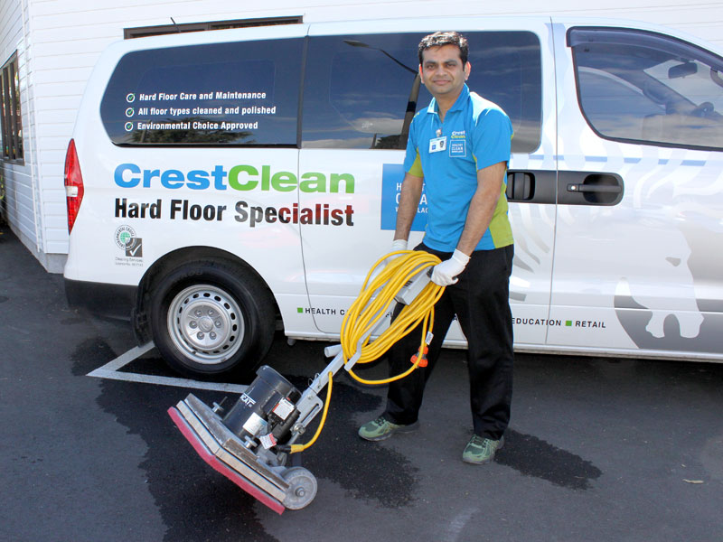 Tauranga-based Pinakin Patel with the floor machine that can strip floors without using chemicals.