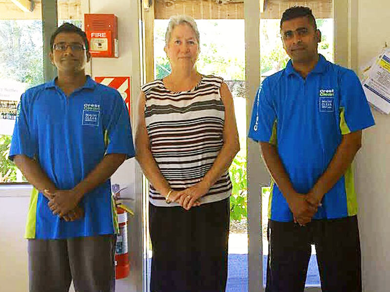 Kerry Williams, Site Services Manager at Plant and Food Research, with Anton Fernando and Anushka Withanage.