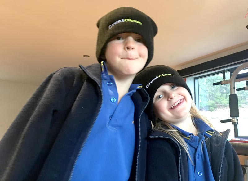 James Dixon lost two of his beanies to his children Luca, 7, and Elina, 6.