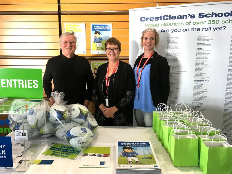 Marty Perkinson, CrestClean's Chairman, with Caroline Wedding and Abby Latu at the conference.