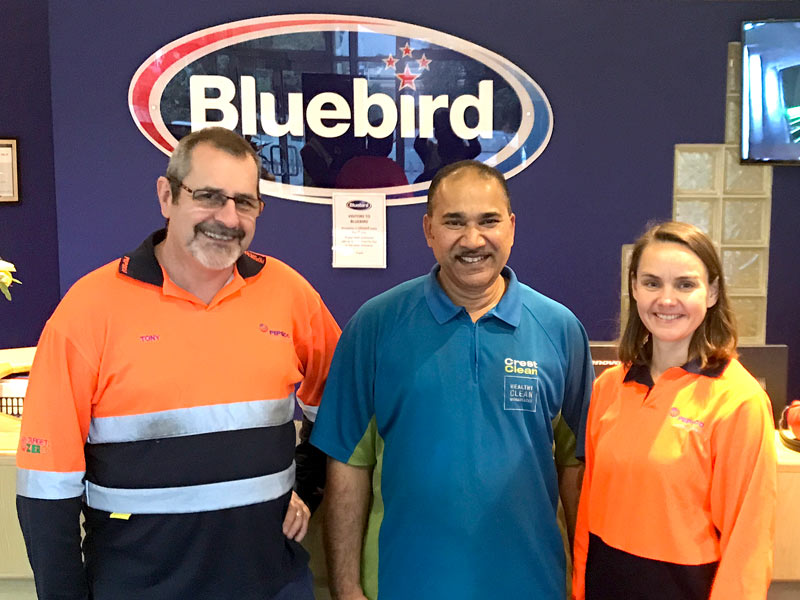 Anand Achari with Tony Elliot, Bluebird's Operation Manager, and Irina Orekhova, Senior Supply Chains Manager.