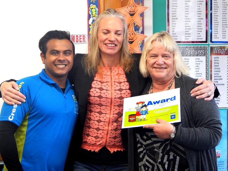 Izack Ahmed and Abby Latu with Room 17 teacher Lynette Davidson.