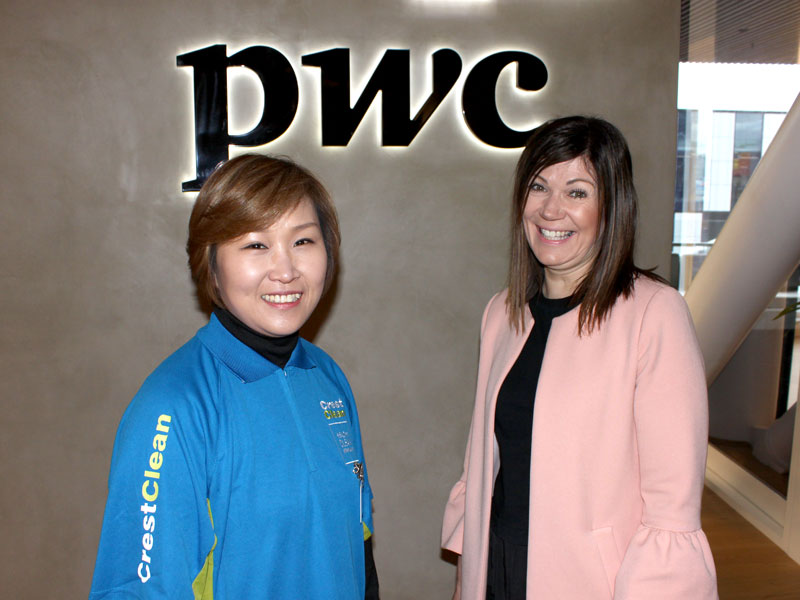 Bronwyn Hill says Grace Choi does a fantastic job of the cleaning for PricewaterhouseCoopers at the central city building.