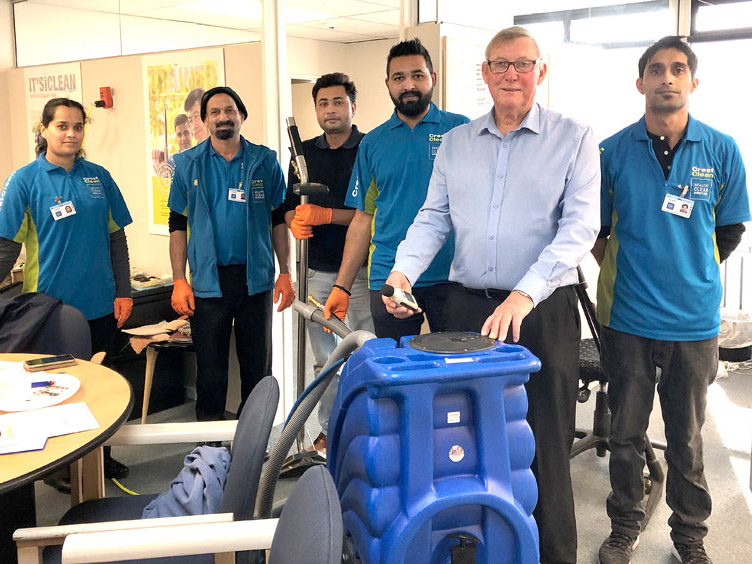 Charlie Lodge with participants on the carpet care course held in Christchurch.