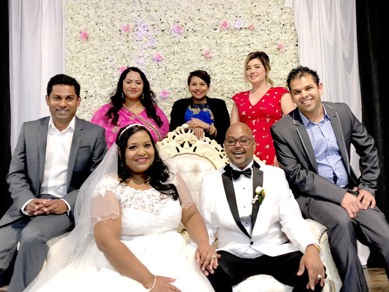 Payal Venakr and Sam Nand on the wedding day with CrestClean's Yasa Panagoda, Esther Venkataiya, Priya Prasad, Gina Holland and Vashneel Chaudhary.