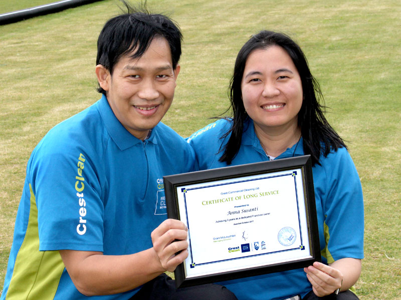 Anna Susanti and John Santosa who have been with CrestClean for three years.