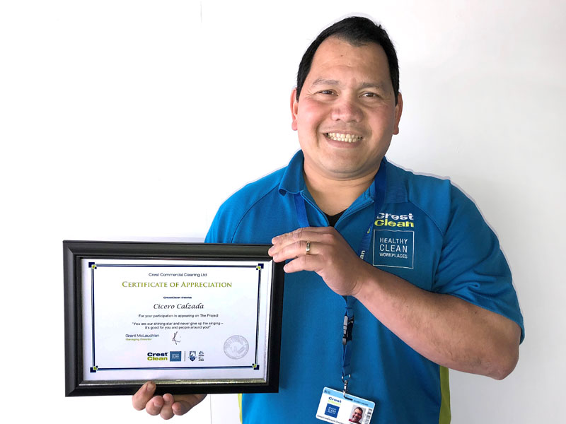 Cicero Calzada has received a Certificate of Appreciation after his appearance on TV Three's The Project.