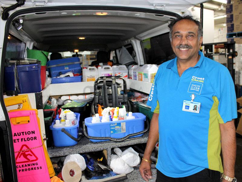 Resham Singh has his van so organised!