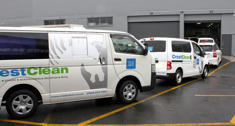 Vehicles arrive for the early morning audit in Auckland.