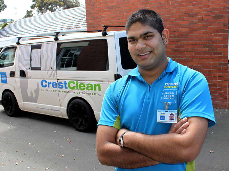 At 28, Deepesh Prasad is proud to have his own cleaning business.
