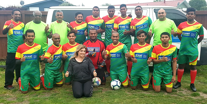 The Western Flyers look great in their Crest-sponsored strip. With the team is Gina Holland, CrestClean's Christchurch South Regional Manager.
