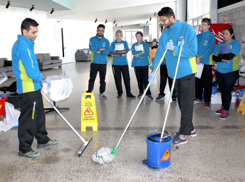 Blading and mopping under way during one of the training sessions.