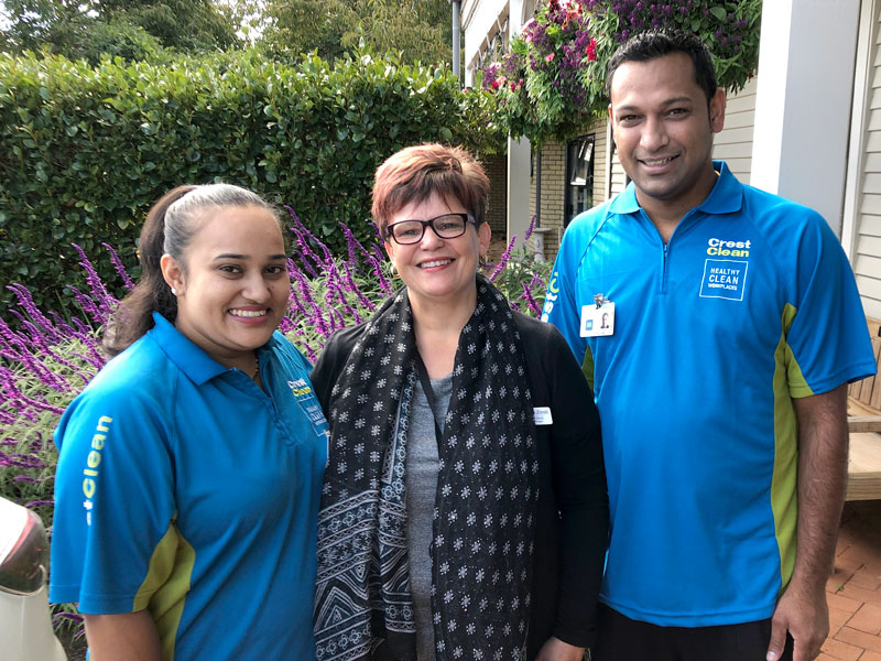Amanda Zinsli, Quality and Clinical Projects Manager, Hospice West Auckland, with CrestClean's Ashna Devi and Edwin Prakash.
