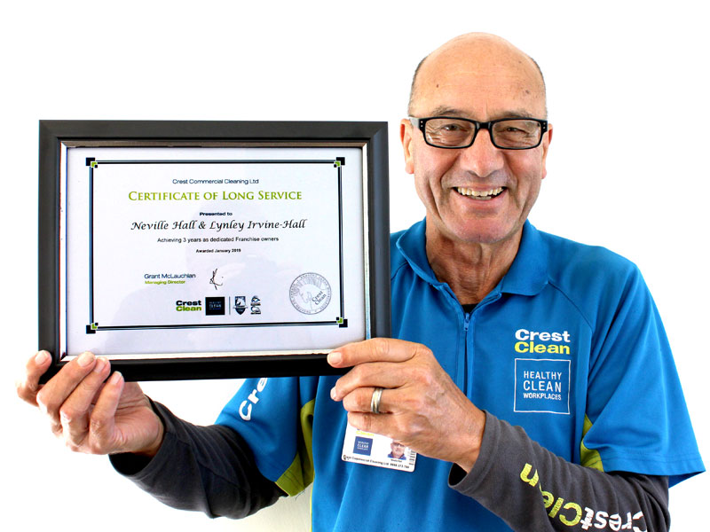 Neville Hall has chalked up three years with CrestClean in Tauranga.