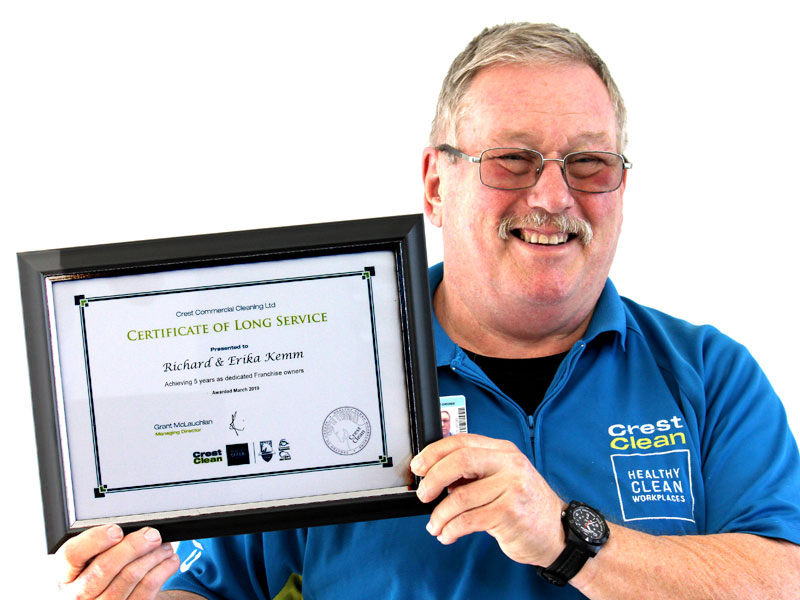 Richard Kemm celebrates five years with CrestClean.