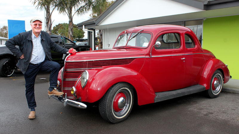 Marty Perkinson with his 1938 Ford V8 Coupe Flathead.